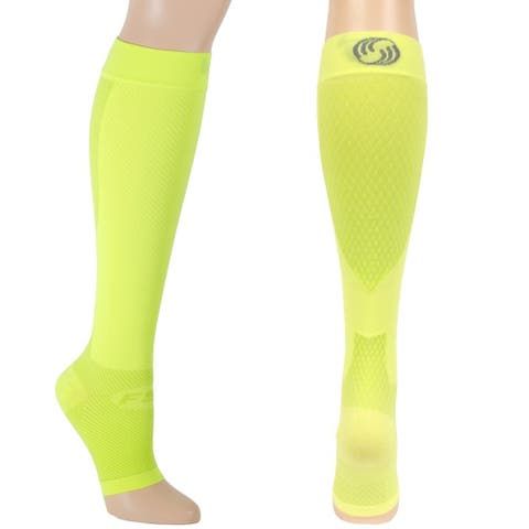 OrthoSleeve FS6+ Foot and Calf Compression Sleeves - Reflector Yellow