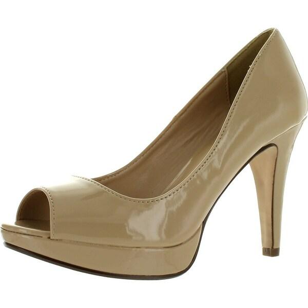 City Classified Womens Chess Dress Pumps Shoes - dark beige patent