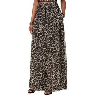 SL Fashions Womens Maxi Skirt Metallic-Stripe Animal Print
