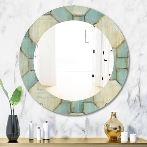 Designart 'Geometric Title Element' Modern Mirror - Oval or Round Wall Mirror - Multi