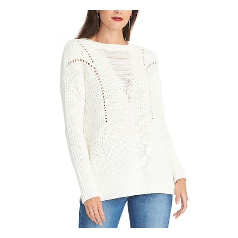 RACHEL ROY Womens Ivory Long Sleeve Crew Neck Sweater Size XS