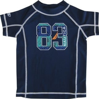 "Nautica Baby Boys Navy Number ""83"" Print Rash Guard Swim Shirt 12-24M"