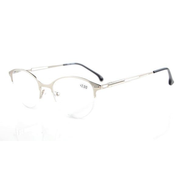 1d89c1ebdf6 Shop Eyekepper Quality Spring Hinges Half-Rim Cat-eye Style Reading Glasses  Silver +3.50 - Free Shipping On Orders Over  45 - Overstock - 15194749