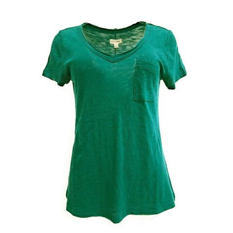 Maison Jules Short Sleeve V-Neck Top Tee Storm