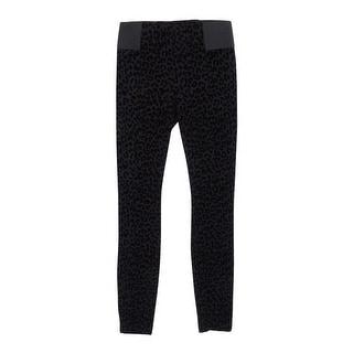 Bar III Women's Burnout Leopard Print Legging Pants - Deep Black