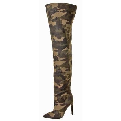 Kendall + Kylie Alexx2 Women's Camo Thigh High Boots