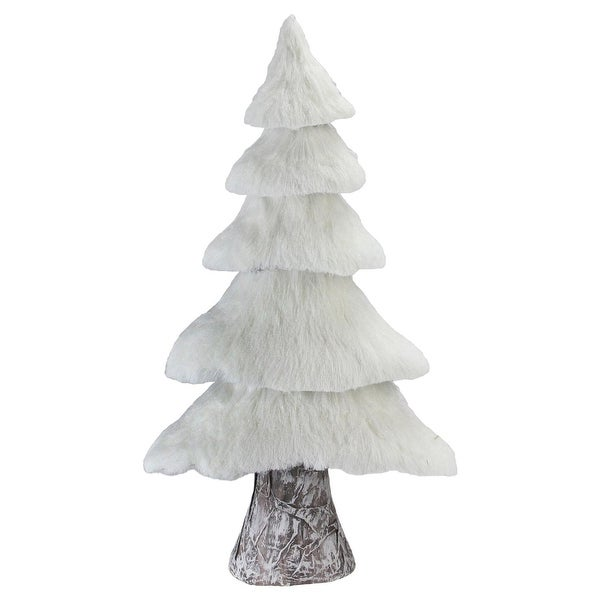 """17.25"""" Small Rustic Birch Wood Tree with Faux Snow Canopy Christmas Decoration - WHITE"""