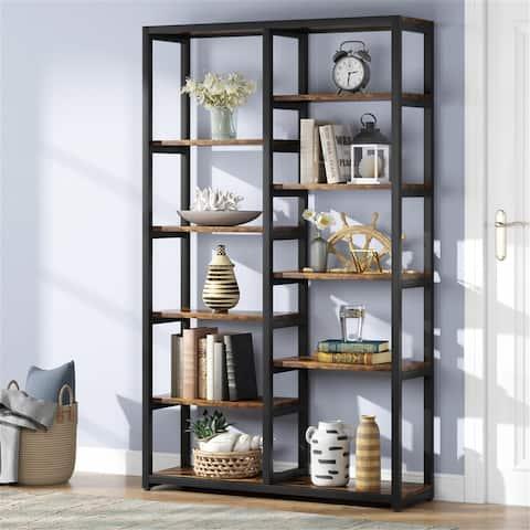 Rustic Bookshelf, 10-Open Shelf Etagere Bookcase Display