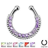 Single Line Paved Gem Non-Piercing Septum Hanger (Sold Individually)