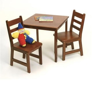Lipper International 514C Child's Square Table And 2-Chair Set, Cherry