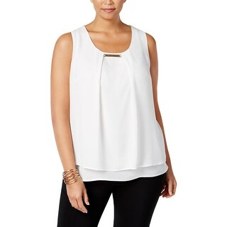 NY Collection Womens Plus Blouse Crepe Metal Detail