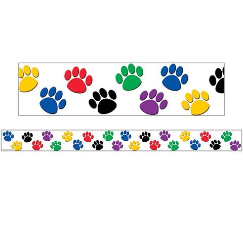 Colorful Paw Prints Straight Rolled Border Trim, 50' - One Size