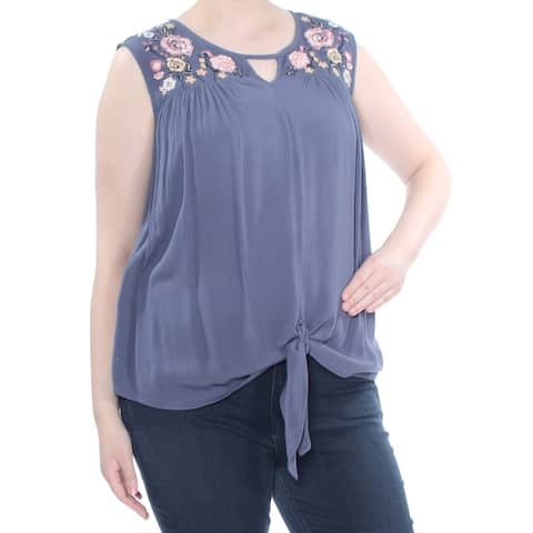 PLANET GOLD Womens Blue Embroidered Front-tie Sleeveless Keyhole Blouse Top Plus Size: 2X