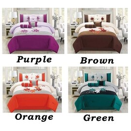 7 PC Comforter Set Cal King Size Floral Modern Style with Bed Skirt Pillow Shams Square Pillow Breakfast Cushion Neck Roll