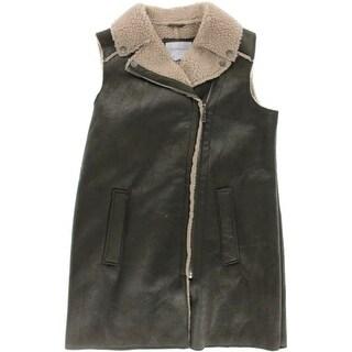 BCBGeneration Womens Faux Suede Shearling Outerwear Vest - L