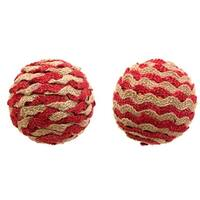 """Club Pack of 12 Christmas Decorative Creative Red Brown Twine Ball Ornament 4.25""""L"""