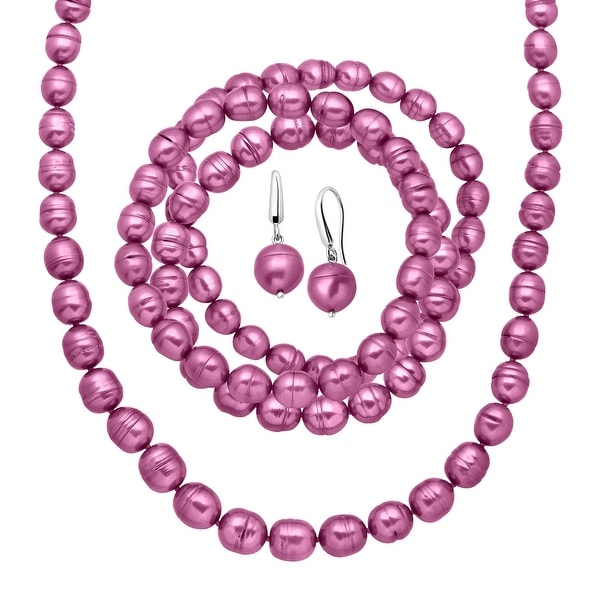 Fuchsia Freshwater Ringed Pearl Earring, Bracelets & Necklace Set in Sterling Silver