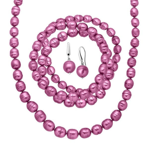 Honora Fuchsia Freshwater Ringed Pearl Earring, Bracelets & Necklace Set in Sterling Silver - Purple