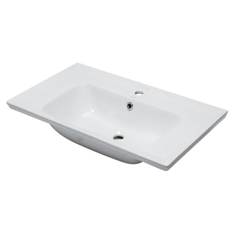 "Eago BH003 31-1/2"" Drop In Bathroom Sink with Overflow - White"
