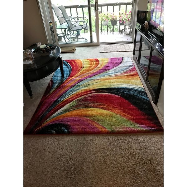 Shop Well Woven Bright Waves Multi Colored Area Rug Multi 5 3 X