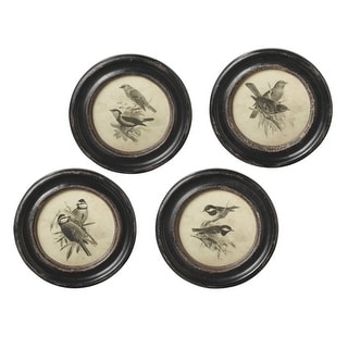 """Set of 4 Ivory and Brown Small Round Bird Wall Art with Glass 9.6"""" - N/A"""