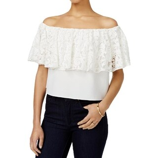Rachel Rachel Roy Womens Blouse Lace Overlay Butterfly Sleeves - xL