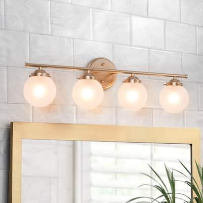 "Modern Gold 4-light Globe Bathroom Vanity Light Frosted Glass Wall Sconces - L26.5""x W 6.5""x H 8"""