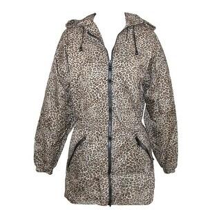 ShedRain Women's Packable Fashion Leopard Print Anorak Rain Jacket