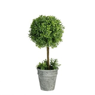 "17"" Artificial Boxwood Topiary in Decorative Distressed Gray Paper Mache Pot - Green"