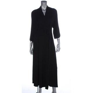 DKNY Womens Solid Short Sleeves Wrap Dress