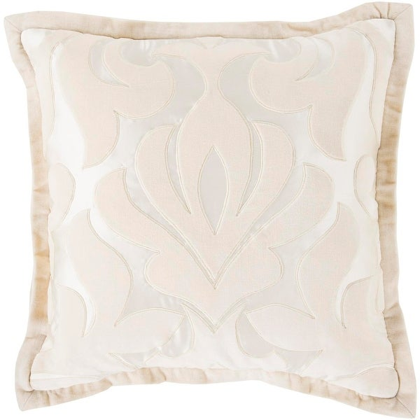 "20"" Pastel Pink and Cream White Royal Damask Decorative Throw Pillow"