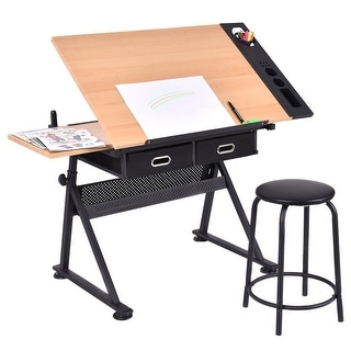 Costway Adjustable Drafting Table Art Craft Drawing Desk Art Hobby W/ Stool  And Drawers