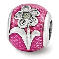 Sterling Silver Reflections Pink Enameled with Swarovski Elements Flower Bead (4mm Diameter Hole)