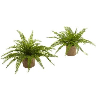 Nearly Natural Home Decor Boston Fern W/Burlap Planter (Set of 2)