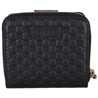 Gucci Women's 449395 Black Leather Micro GG Guccissima French Wallet - 4.25 x 4 inches