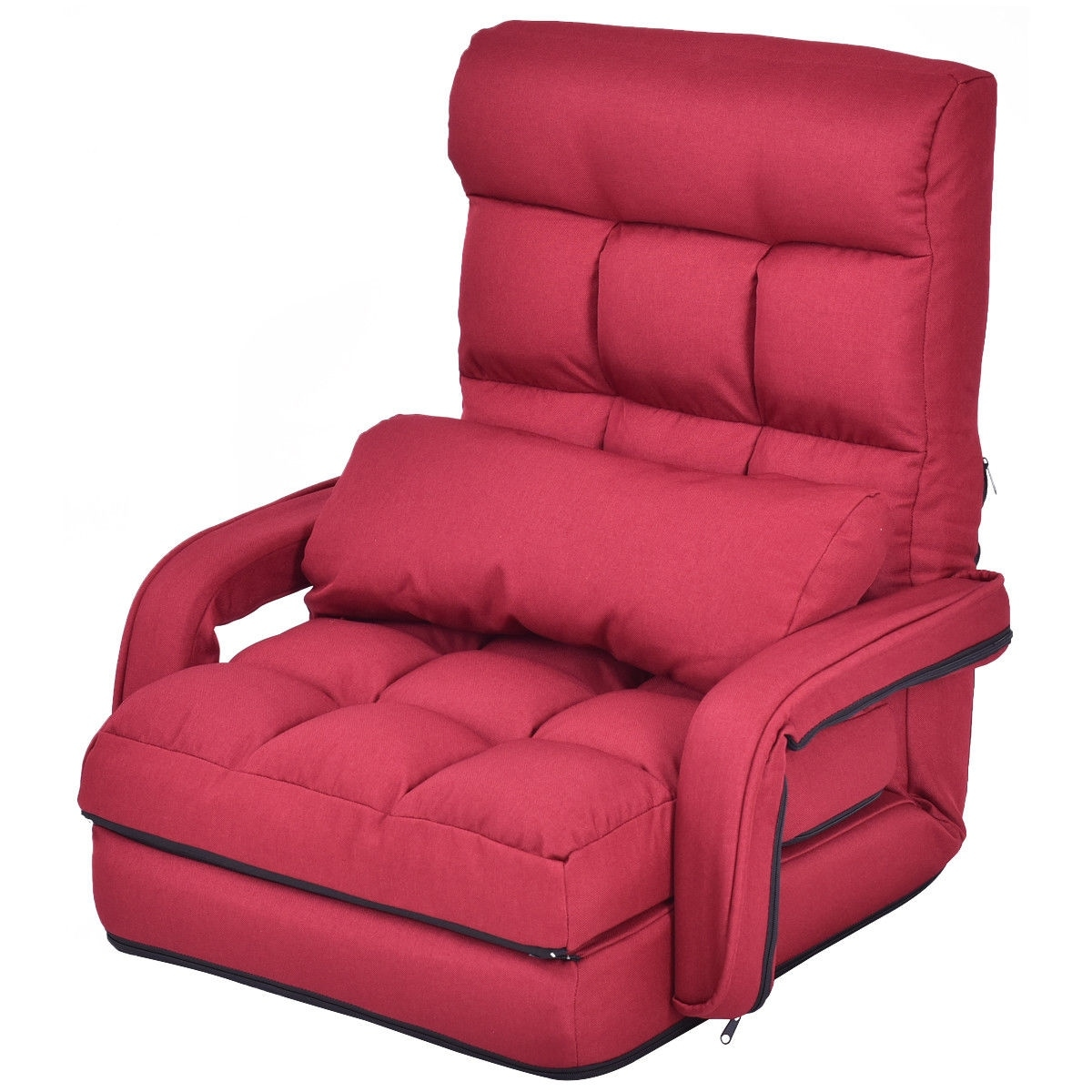 Enjoyable Gymax Red Folding Lazy Sofa Floor Chair Sofa Lounger Bed With Armrests And A Pillow Caraccident5 Cool Chair Designs And Ideas Caraccident5Info
