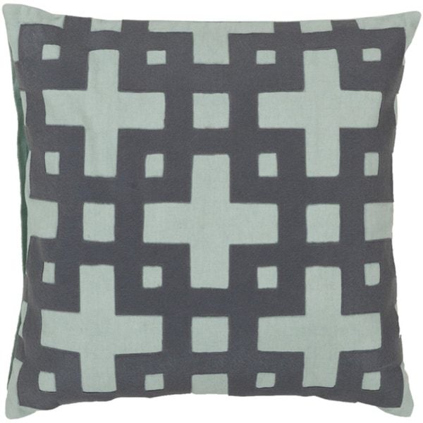 "18"" Ionic Flow Steel Gray and Aqua Blue Decorative Square Throw Pillow"