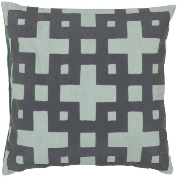 """22"""" Ionic Flow Steel Gray and Aqua Blue Decorative Throw Pillow - Down Filler"""