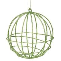 Green Glitter Geometric Round Ball Christmas Ornament