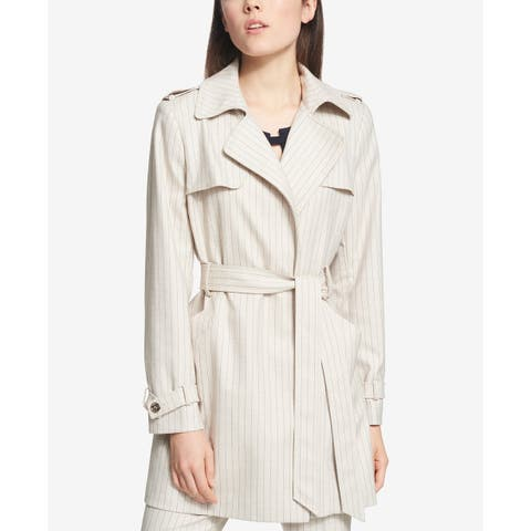 Tommy Hilfiger Beige Womens Size 2 Striped Belted Trench Knit Coat