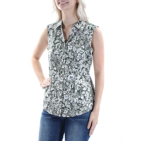 609c2c6ad CHARTER CLUB Womens Olive Floral Sleeveless Collared Button Up Top Size: 6
