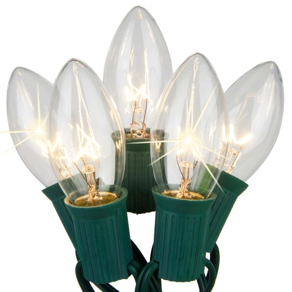 Wintergreen Lighting 67252 25 C9 Twinkle 7W Holiday Bulbs on Green Wire - CLEAR - N/A