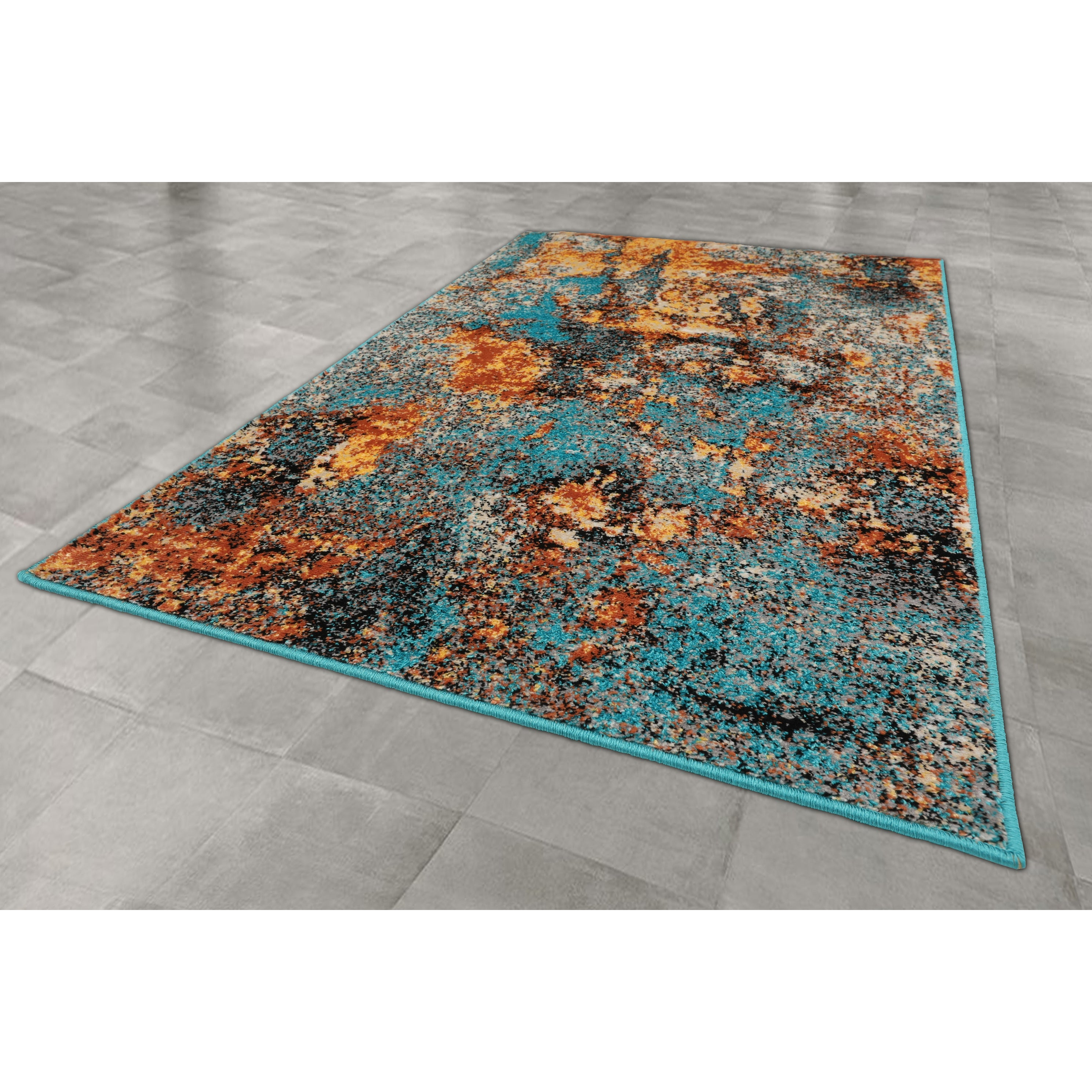 Loombloom Persian Polypropylene Autumn Modern Contemporary Oriental Area Rug Turquoise Apricot Color Overstock 32109500 9 X 12 Turquoise