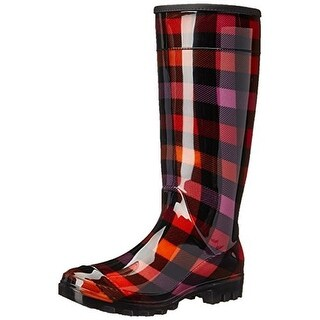 Dirty Laundry Womens Ring Leader Plaid Knee-High Rain Boots