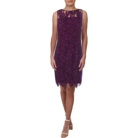 Lauren Ralph Lauren Womens Party Dress Lace Scalloped