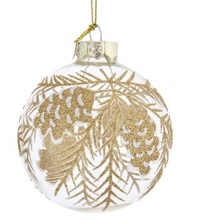 Link to Kurt Adler 80MM Clear with Gold Pinecones Glass Ball Ornaments, 6-Piece Set Similar Items in Christmas Decorations