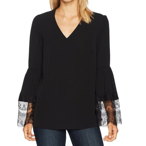 Nine West Black Womens Size Large L V-Neck Lace Bell-Sleeve Blouse