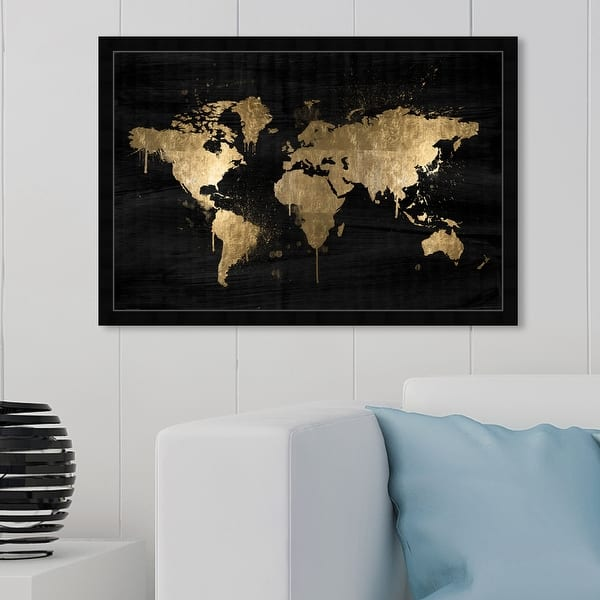 White Poster Art Print Map Home Decor World Map in Gold Foil