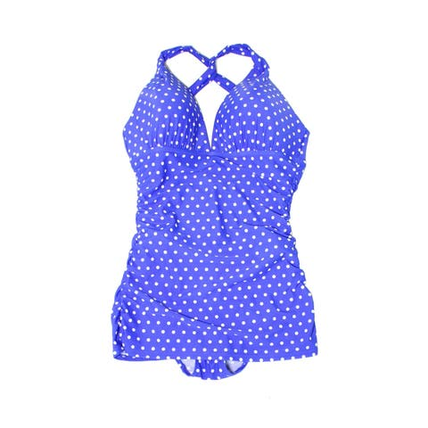 Lauren by Ralph Lauren Blue Womens Size 8 Dot Cross-Back Swimdress