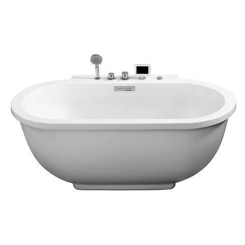 "Ariel AM128JDCLZ Platinum 71"" Whirlpool Bath Tub with Handshower and Jets - White"